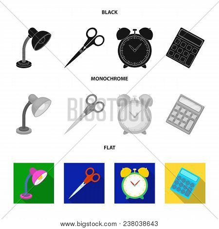 Table Lamp, Scissors, Alarm Clock, Calculator. School And Education Set Collection Icons In Black, F