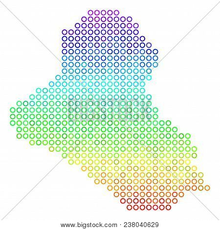 Spectrum Iraq Map. Vector Geographic Map In Bright Spectrum Color Hues. Spectrum Has Vertical Gradie