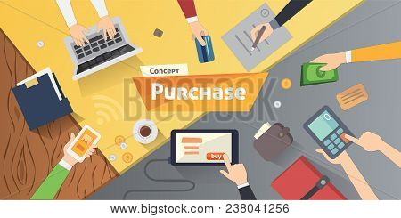 Online Shopping, Desktop With Computer, Credit Cards, Ad Hands. Concept Purchase Product Vector Mode