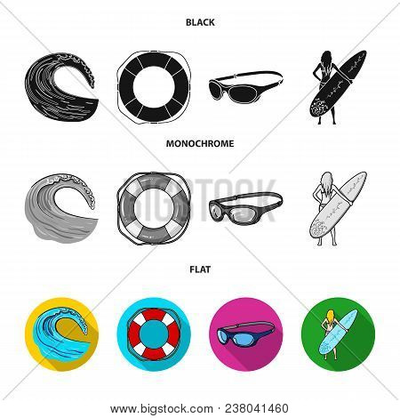 Oncoming Wave, Life Ring, Goggles, Girl Surfing. Surfing Set Collection Icons In Black, Flat, Monoch