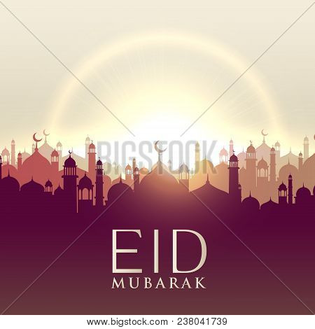 Eid Mubarak Card With Mosque Silhouttes Vector