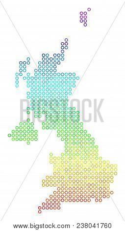Spectrum United Kingdom Map. Vector Geographic Map In Bright Spectral Color Color Tints. Spectrum Ha