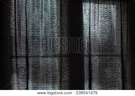 Transparent, Dark Drapes Used As A Concept Of Hiding, Private Or Melancholy.