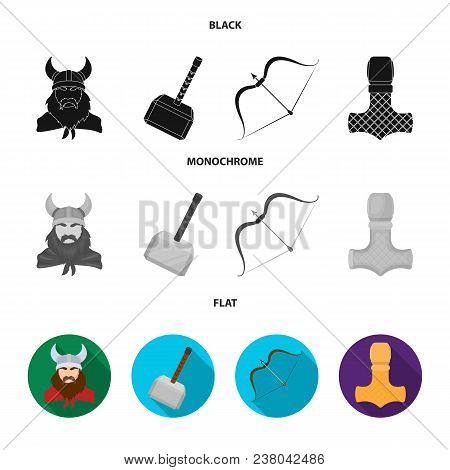 Viking In Helmet With Horns, Mace, Bow With Arrow, Treasure. Vikings Set Collection Icons In Black,