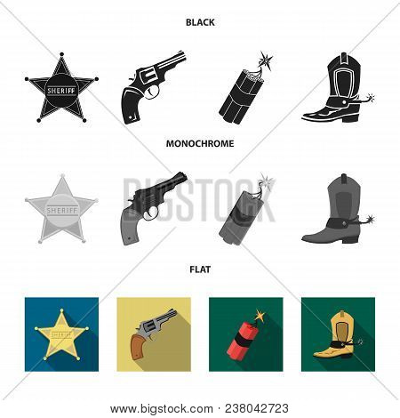 Star Sheriff, Colt, Dynamite, Cowboy Boot. Wild West Set Collection Icons In Black, Flat, Monochrome