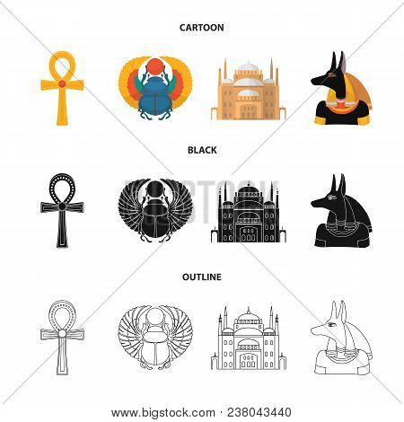 Anubis, Ankh, Cairo Citadel, Egyptian Beetle.ancient Egypt Set Collection Icons In Cartoon, Black, O
