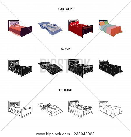 Different Beds Cartoon, Black, Outline Icons In Set Collection For Design. Furniture For Sleeping Ve