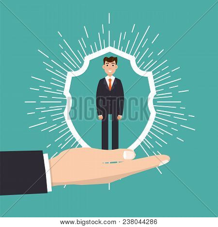 Customer Care, Retention Or Loyalty Concept. Businessman In A Hand Holds  Client. Vector Illustratio