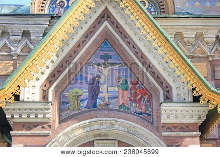 Mosaic Exterior On Facade Of Church Of The Savior On Blood In Saint Petersburg, Russia. Close Up Vie