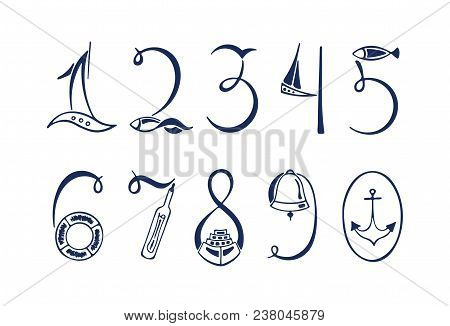 Set Of The Marine Numerals. Hand Drawn Vector Illustration. Sailboat, Life Preserver, Lighthouse, Fi