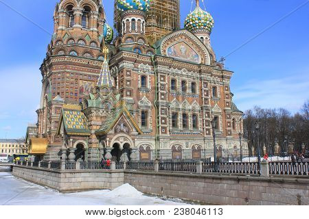 Church Of Our Savior On Spilled Blood In Saint Petersburg, Russia. Panoramic Outdoor View Of Orthodo