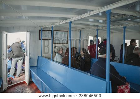 March 24th, 2018 - Olhao, Portugal: Inside View Of The Public Boat That Connect The Portuguese City