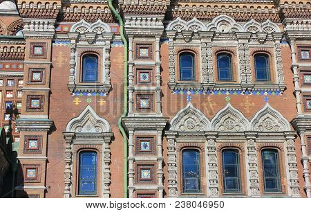 Exterior Decor Of Church Of Our Savior On Spilled Blood In St. Petersburg City, Russia. Facade Archi