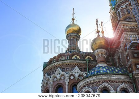 Onion Domes And Ornamental Details Architecture Of Church Of Our Savior On Spilled Blood In Saint Pe