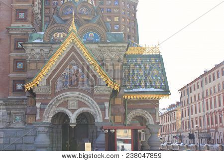 Church Of Our Savior On Spilled Blood Architecture Details With Ornamental Exterior Decor In City Of