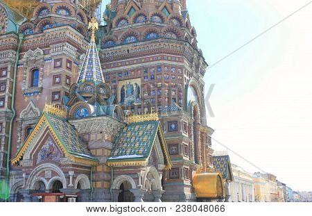 Church Of Our Savior On Spilled Blood Architecture Details In St. Petersburg, Russia. Historical Old