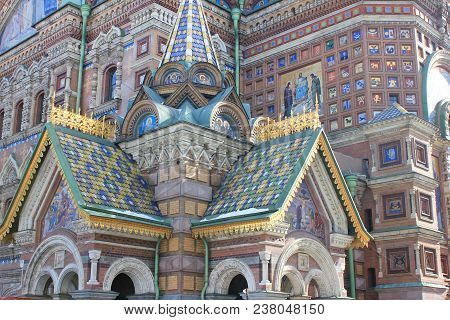Church Of Our Savior On Spilled Blood Architecture In Saint Petersburg, Russia. Historic Old Religio