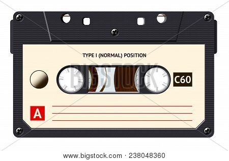 Cassette With Retro Label As Vintage Object For 80s Revival Mix Tape Design, Party Poster Or Cover.