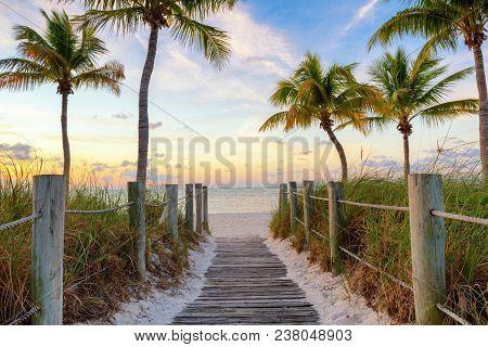 Footbridge To The Smathers Beach On Sunrise - Key West, Florida