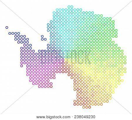 Spectrum Antarctica Map. Vector Geographic Map In Bright Spectrum Color Shades. Spectrum Has Circula