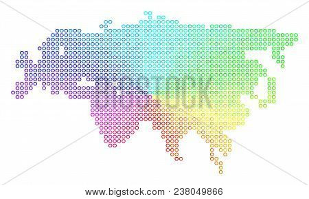 Spectrum Eurasia Map. Vector geographic map in bright spectrum color tones. Spectrum has circular gradient. Colored vector pattern of Eurasia Map created of small spheres. poster
