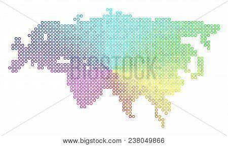 Spectrum Eurasia Map. Vector Geographic Map In Bright Spectrum Color Tones. Spectrum Has Circular Gr