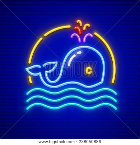 Whale Cachalot On Sea Waves In Ocean. Neon Animal Icon Sign With Illumination. Eps10 Vector Illustra