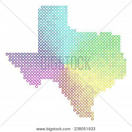Spectrum Texas Map. Vector Geographic Map In Bright Spectrum Color Hues. Spectrum Has Circular Gradi
