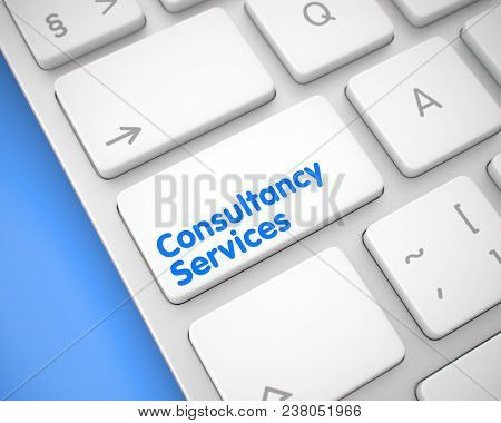 Close View White Keyboard Button - Consultancy Services. Business Concept With Modern Computer Enter