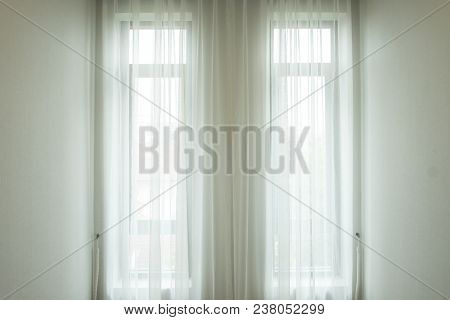 Background And Texture Of White Drape At The Window.