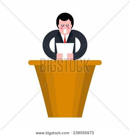 Speaker On Rostrum. Speaker Reads Text. Vector Illustration