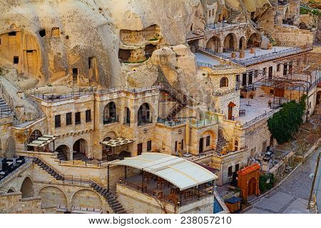 Houses And Hotels Located In Rocky Caves In Goreme City, Capadokkia