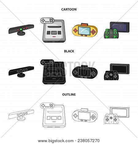Game And Tv Set-top Box Cartoon, Black, Outline Icons In Set Collection For Design.game Gadgets Vect