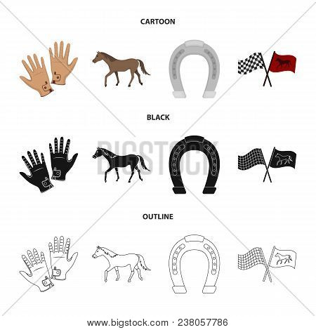Race, Track, Horse, Animal .hippodrome And Horse Set Collection Icons In Cartoon, Black, Outline Sty