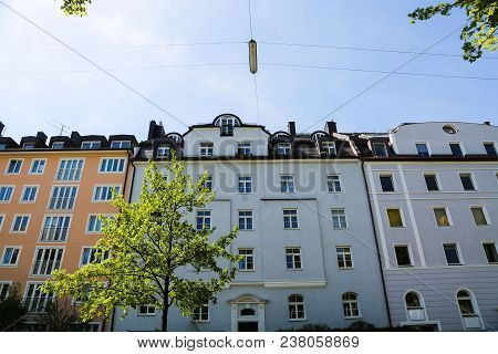 Residential Houses, Row Of Houses In Munich, Beautiful Residential Area, Blue Sky