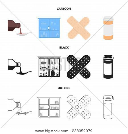 Syrup In A Spoon, Plaster, Honey, Medical Cabinet.medicine Set Collection Icons In Cartoon, Black, O