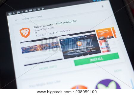 Ryazan, Russia - April 19, 2018 - Brave Browser - Fast Adblocker Icon On The List Of Mobile Apps