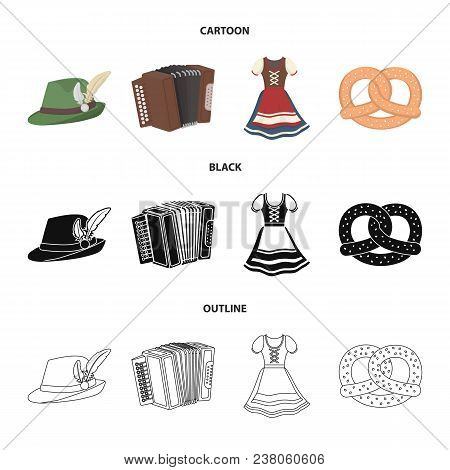Tyrolean Hat, Accordion, Dress, Pretzel. Oktoberfestset Collection Icons In Cartoon, Black, Outline