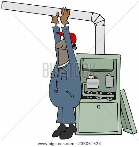 Illustration Of A Black Man Wearing Coveralls Installing A Gas Furnace.