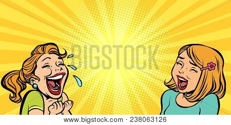 Two Cheerful Girlfriend Girls Laugh. Comic Cartoons Pop Art Retro Vector Illustration Kitsch Drawing