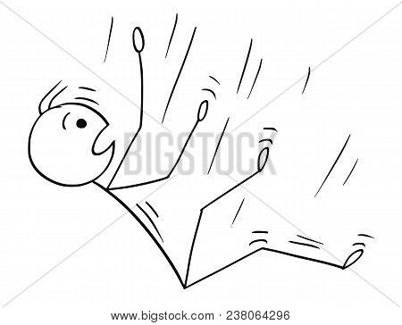 Cartoon Stick Man Drawing Conceptual Illustration Of Businessman Falling Down Or Downfall. Business