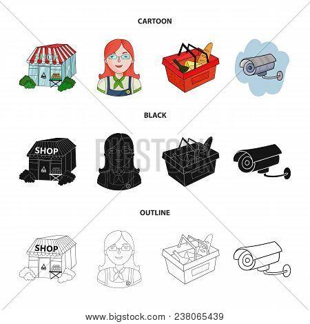Salesman, Woman, Basket, Plastic .supermarket Set Collection Icons In Cartoon, Black, Outline Style