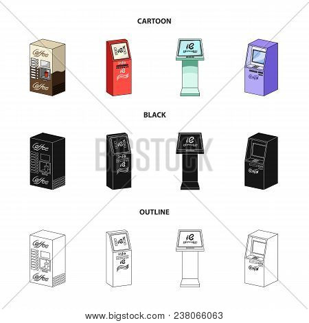 Coffee Machine, Atm, Information Terminal. Terminals Set Collection Icons In Cartoon, Black, Outline