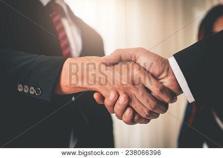 Business Hand Shake Between Corporate Executive Business Man