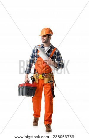 workman in orange overall holding tool box and blueprint isolated on white poster