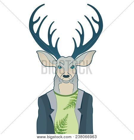 Fashion Portrait Of Hipster Deer. Reindeer Dressed Up In Coat, Furry Art Character, Trand Animals, A