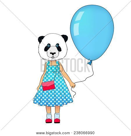 Little Fashion Panda Girl Dressed Up In Dress. Animal Hipster Bear In Dress With Balloon. Panda Kid