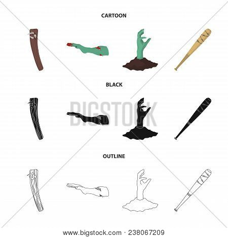 Zombies And Attributes Cartoon, Black, Outline Icons In Set Collection For Design. Dead Man Vector S