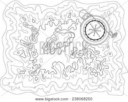 Vector Black And White Map Pattern With Abstract Topographical Contour Lines Of Mountains, Latitude