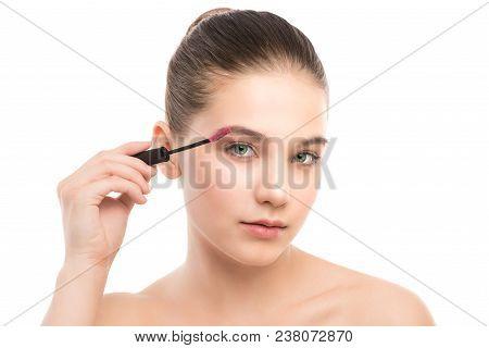 Eye Make Up Apply. Mascara Applying Closeup, Long Lashes. Mascara Brush. Portrait Of Beautiful Young
